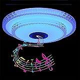 JFISQ 36W Plafón LED Con Altavoz Bluetooth, Lámpara De Techo Musical Para Baño Con RGB Regulable, Aplicación Y Control Remoto, Pantalla De Cristal De Doble Capa Para Cocina, Dormitorio