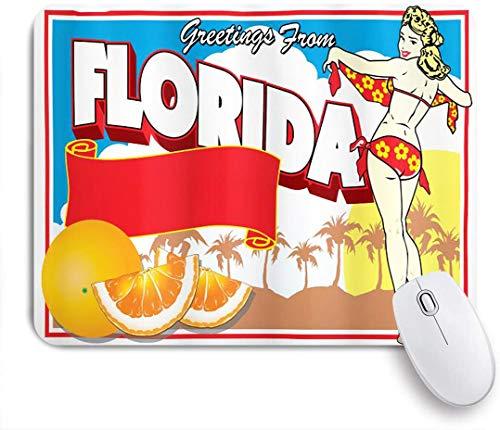 SURERUIM Mauspad - Florida-Grüße vom Florida-Postkartenentwurf mit einem Pin-Up-Mädchen in Bikini und Orangen-Mehrfarben - Gaming und Office rutschfeste Gummibasis Mauspads,240×200×3mm
