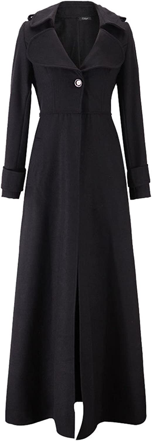 Allonly Women's Faux Woolen Coat Maxi Long Slim Coat Windbreaker Jacket