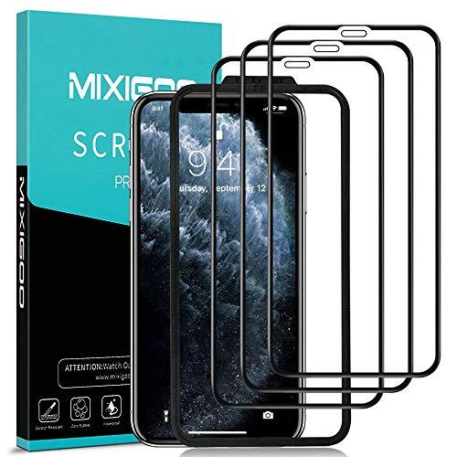 mixigoo 3 Stück Full Screen Schutzfolie für iPhone 11 Pro/iPhone XS/iPhone X, 9H Härte Panzerglasfolie mit Positionierhilfe Anti-Bläschen Displayschutzfolie für iPhone 11 Pro/XS/X Folie -5.8