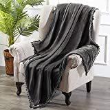 HOMEIDEAS FlannelFleece ThrowBlanket with Tassels Fringe 50X61 Inches SuperSoft Blanket CozyMicrofiberLightweight Warm Blanket for Sofa Couch for All Season, Charcoal/Dark Grey