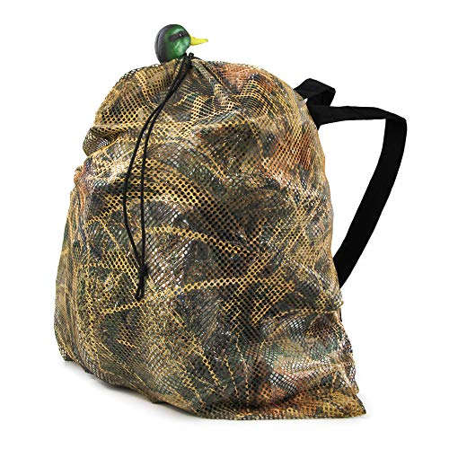 GUGULUZA Duck Mesh Decoys Bag with 2 Shoulder Straps Pigeon/Goose/Turkey Carry Large Decoy Storage Backpack for Hunting (New Camo)
