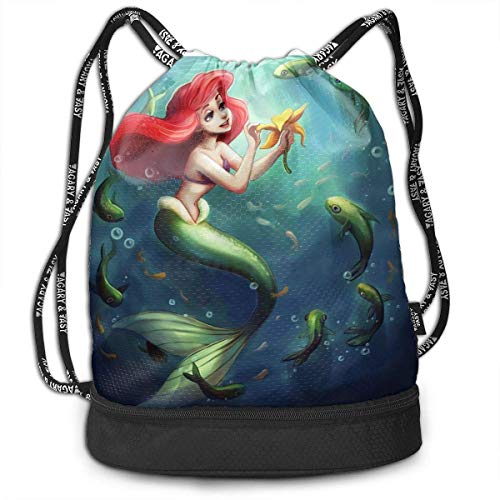shenguang Mermaid Ariel Coloring Bundle Drawstring Backpack for Gym Sports String Bag School Yoga Kids Mens and Womens Traveling Backpacks