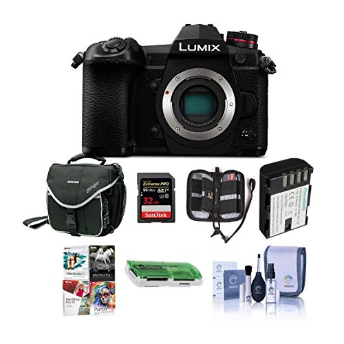Panasonic Lumix G9 Mirrorless Camera Body, Black - Bundle with 32GB SDHC U3 Card, Spare Battery, Camera Case, Cleaning Kit,...