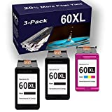 3-Pack (2 Black+ 1 Tri-Color) Remanufactured High Yield...