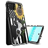 for LG K92 5G Case,for LG K92 5G Phone Case,Spsun Dual Layer Transparent Acrylic Backing + TPU Soft Clear Shockproof Protective Phone Case Cover for LG K92 5G 2021 - American Flag Sunflower/Cow
