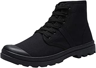 Men's Casual High-top Sneakers Non-Slip Hiking Shoes Solid Color Lace-Up Canvas Shoes