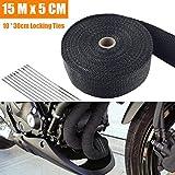 15M x 5 CM Hitzeschutzband Basaltfaser, Titanium Farbe Auspuffband mit 10 Edelstahl Kabelbinder für...