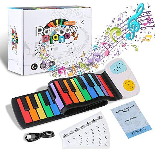 Hricane Kids Piano Keyboard Flexibel Rainbow Roll Up Piano 49 Tasten,Tragbare USB-wiederaufladbare musikalische Tastatur Instrumentenspielzeug Geschenk für Kinder