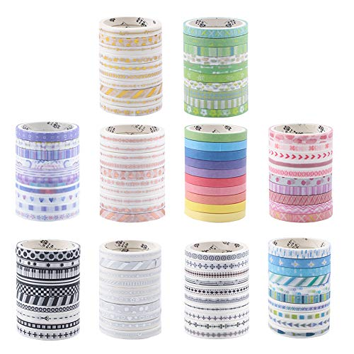 Hileyu Washi Tape Set, 100 Rolls Decorative Washi Masking Tape, Multi-Pattern Masking Tape Tapes for DIY Crafts Scrapbooking Gift Wrapping Party Supplies (Set of 10 Rolls)