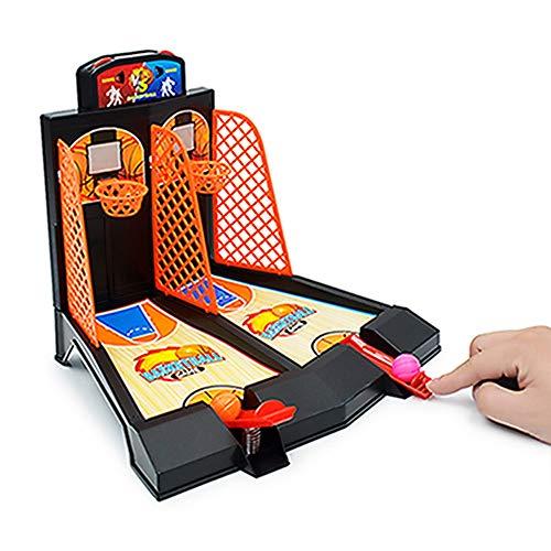 Baqsoo Mini Desktop Basketballspiel, Basketballkorbset für Kinder, Basketball-Schießspielspielzeug Enthält 6 ABS-Basketballgeschenke für Erwachsene Kinder