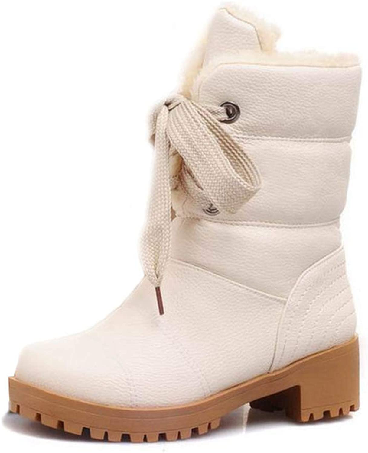 Womens Half Short Boots Square Heels Winter Thicken Fur Warm Mid Calf Boot Lace-up Botas shoes