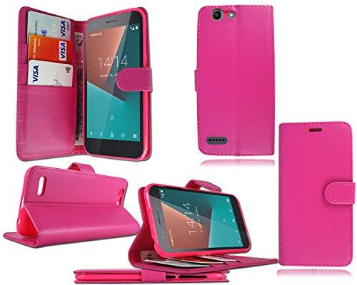 PIXFAB Vodafone Smart E8VFD 510mit Premium Luxus, schwarz, Flip Leder Tasche Hülle Cover + Bildschirmschutzfolie für Vodafone Smart E8VFD 510