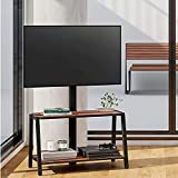 FITUEYES 2-Tier Floor Modern TV Stand for 32-55 Inch TVs Entertainment Center Stand with Storage-Height Adjustable TV Console Stands with Golden Walnut Board & Cable Management