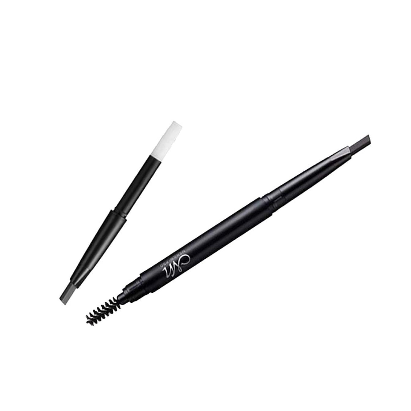 手のひら嵐のアドバンテージアイブロウペンシル 鉛筆リフィル 眉ペンシル 交換可 詰め替え ブラシリフィル キット付き 防水 デュアルエンド 眉毛ライナー ペンシル 3色選べ - ブラック