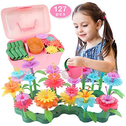 Blumengarten Spielzeug für Mädchen 3 4 5 6 jährige Geburtstag Mädchen Geschenke Kleinkind Spielzeug DIY Bouquet Sets,Konstruktions Blumenarrangement Lernspielzeug Spielzeug für draußen (127 PCS)