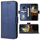 Phone Case for Nokia 6.1 / Nokia 6 2018 Folio Flip Wallet Case,PU Leather Credit Card Holder Slots Full Body Protection Kickstand Hard Hybrid Protective Phone Cover for Nokia6.1 TA-1045 Men Dark Blue