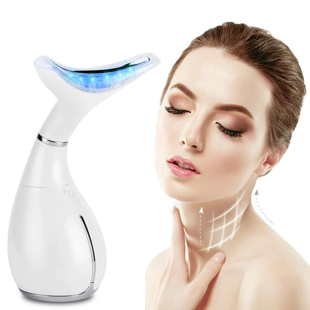 Amazon.com: Facial neck massager anti-wrinkle, LED Photon Therapy Neck and Face  Lifting Massager Vibration Skin Tighten Reduce Double Chin Anti-Wrinkle  Remove Device
