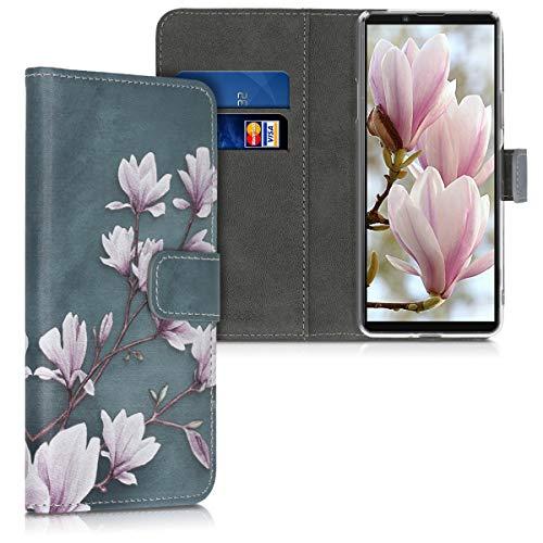 kwmobile Hülle kompatibel mit Sony Xperia 10 II - Kunstleder Wallet Hülle mit Kartenfächern Stand Magnolien Taupe Weiß Blaugrau