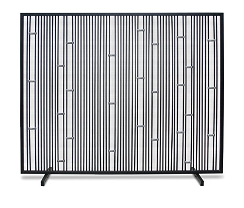 Pilgrim Home and Hearth Pilgrim Arden 18319 Modern Fireplace Screen, Polished Stainless - Black