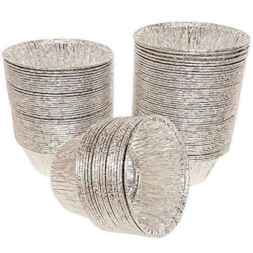AxeSickle 4 oz Disposable Baking Cups Tin Foil Pans Cups 120 mL Aluminum Foil Cupcake Bowl Pans for Baking, Roasting, 150Pcs.