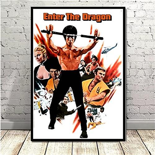 JHGJHK Bruce Lee Kung Fu Actor Pintura al óleo decoración de Mosaico decoración del hogar Sala de Estar decoración de Dormitorio 16