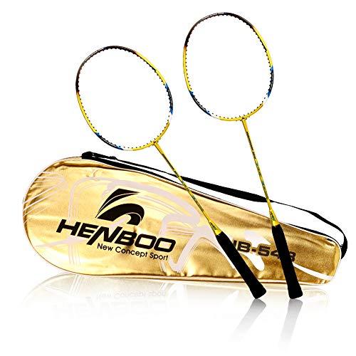 バドミントン ラケット 2本 バトミントン セット 超軽量 炭素繊維 初心者 練習用 部活 レジャー用 スポーツ用品 収納バッグ付き(HB-548S)
