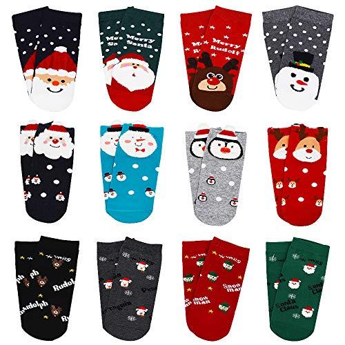 ZZBIQS 12 Pairs Women Xmas Style Socks, Cute Festive Socks, Santa Claus Deer Patterns Warm Socks for Autumn Winter Holiday