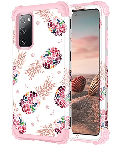 Lontect for Galaxy S20 FE 5G Case, S20 Fan Edition 5G Case Floral Shockproof Heavy Duty 3 in 1 Hybrid Sturdy Protective Cover Case for Samsung Galaxy S20 FE 5G 6.5 inches 2020, Pineapple/Rose Gold