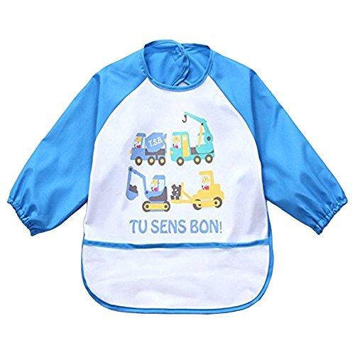 Oral-Q Unisex kinderen kunst ambacht schilderen schort baby waterdichte slabbetje met mouwen en zak, 6-36 maanden, B beige auto, Set van 1