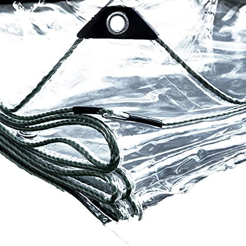 HMCUIQI Telo Occhiellato Trasparente, Materiale PVC Pieghevole Antipioggia Telone, Copertura Impermeabile per Piante, per Balcone, Camper, Gazebo E Giardino