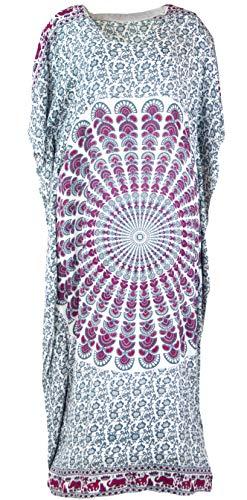 GURU SHOP Ponchokleid, Kaftan, Maxikleid, Damen, Weiß/pink, Synthetisch, Size:One Size, Lange & Midi-Kleider Alternative Bekleidung