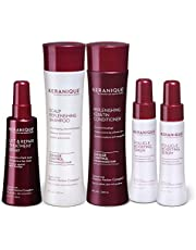Keranique Thicker Fuller Hair 60 Days System with Keratin Shampoo, Conditioner, Follicle Boosting Serum and Lift and Repair Treatment for Thinning Hair, Paraben/Sulfates Free