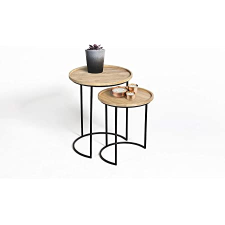 LIFA LIVING Luna, Table Gigogne Bois, Table Gignogne Scandinave en Bois et Cadre en Metal Noir, Table Basse Ronde, Table d'Appoint