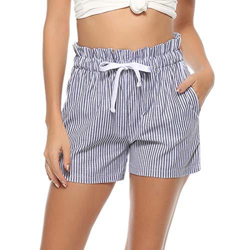 Aibrou Pantalones Corto para Mujer Pantalon de Algodón Verano de Rayas Casual