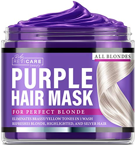 Purple Hair Mask - Made in USA Hair Toner w/Retinol, Avocado Oil & Silk Proteins for Blonde Hair, Ash & Platinum Hair - Greatly Lighten Brassy Hair and Condition Dry Damaged Hair - No Yellow Hues