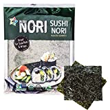 KIMNORI Sushi Nori Seaweed Sheets – 10 Full Size USDA Organic Yaki Roasted Rolls Wraps Snack 100% Natural Laver Gluten Free No MSG Non GMO Vegan Kosher 25 Gram 0.88 Ounce 김 のり 海苔 紫菜