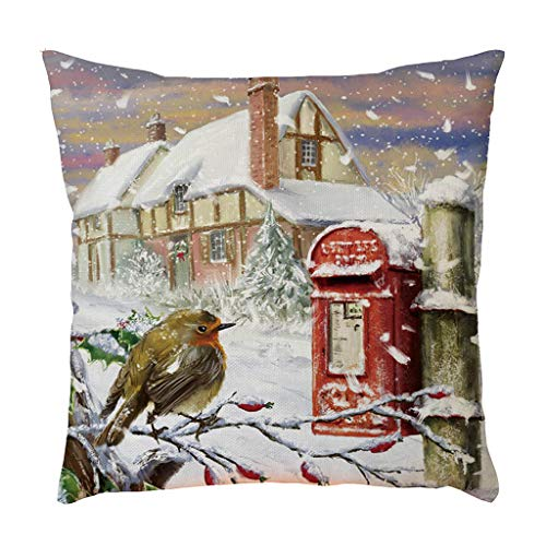 Merry Christmas Linen Pillowcase Sofa Pad Set Home Decoration 18X18 Inch, Merry Xmas Linen Throw Pillowcase 45X45cm, F