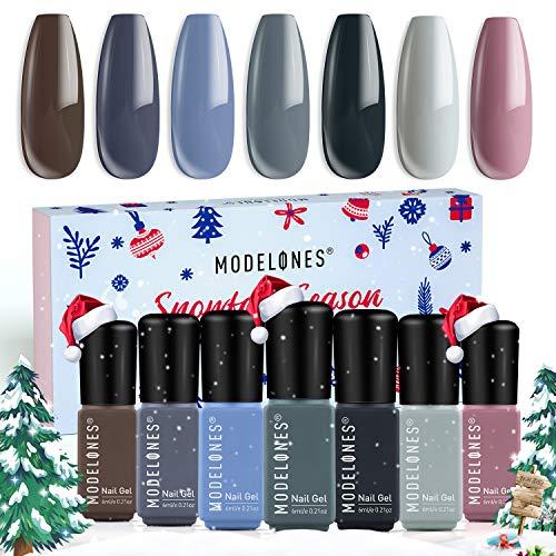 Gel Nail Polish Set Fall Winter Gel Polish 7Pcs Gray Colors Holiday Soak Off LED Gel Nail Kit Nail Art Manicure Salon Collection by Modelones