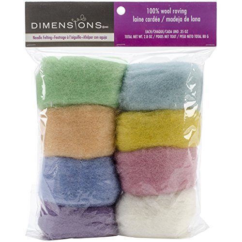 Dimensions Needlecrafts Natural Pastel Wool Roving for Needle Felting, 8 pack, 80g