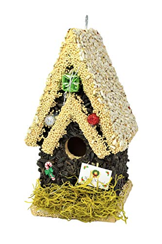 Edible Birdhouses Limited Edition Holiday Design Handmade Unique Wooden Birdhouse Covered w/Birdseed- Reseedable Bird Feeder-Made in USA- (TL)
