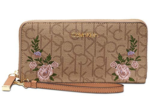 "Logo print faux leather; Gold tone hardware Zip-around closure 1 interior center zip pocket; 2 large slip pockets & 8 card slots 8""L removable strap Dimensions: 8""W x 4""H x 1""D ( Fits iPhone 8 Plus or smaller )"
