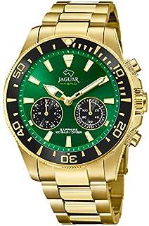 JAGUAR - Reloj Modelo J899/1 de la colección Connected, Caja de 45,7 mm Verde con Correa de Acero Chapado para Caballero