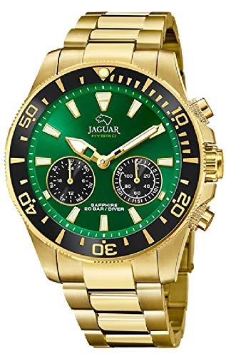 JAGUAR Reloj Modelo J899/1 de la colección Connected, Caja de 45,7 mm Verde con Correa de Acero Chapado para Caballero