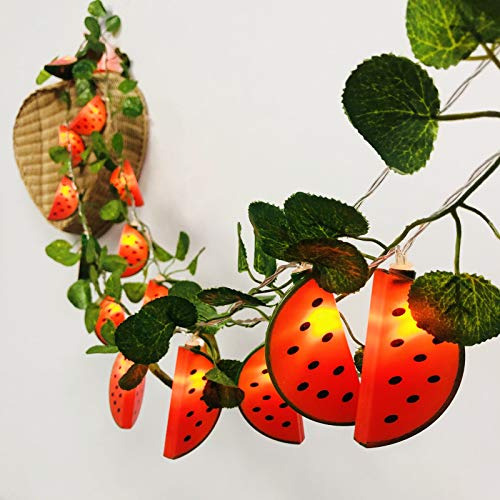 LED Watermelon Decoration Flashing Light String Creative Small Lantern for Girl's Room Window Battery Powered Fairy Hanging Lights (Watermelon+Green Leaf, 3m/20LED)