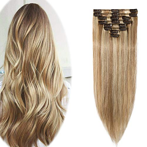Remy Clip in Hair Extensions 100% Human Hair 18 Inch 70g Standard Weft 8 Pcs 18 Clips Straight Hair for Women Beauty Gift Balayage #12P613 Golden Brown Mix Bleach Blonde