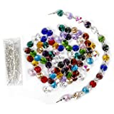 H&D 100 cuentas octogonales de cristal multicolor de 14 mm + 100 piezas de 33 mm chapado en metal plateado para cortinas de araña, Prismas, piezas para hacer joyas