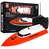 Remote Control Boat, 2.4GHz Remote Control Boat for Kids and Adults, Electric RC Boat 180 Degree Auto Flip Recovery for Pool and Lakes, High Speed Remote Boat Toys for Boys & Girls -RC Boat