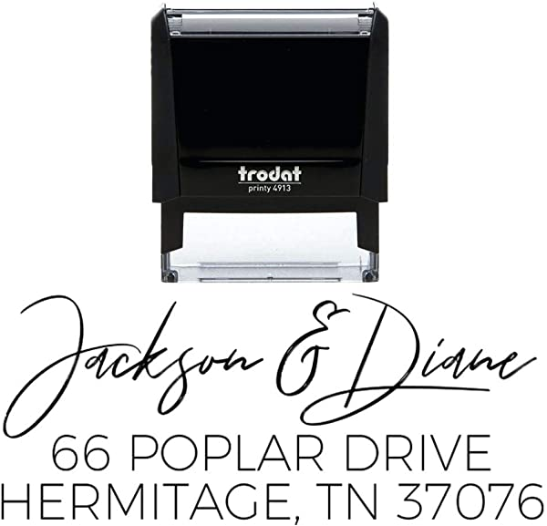 Custom Self Inking Address Stamp Personalized Return Address Stamp 8 Ink Colors Available Hand Lettered Brush Script