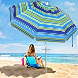 SANSUNTEK Beach Umbrella with Sand Anchor,6.5ft Portable Travel Beach Umbrella for Sand with Tilt Aluminum Pole, Sun...